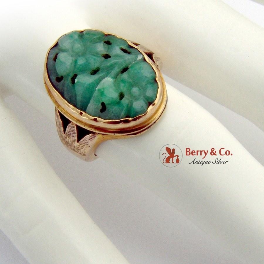 Vintage Asian Floral Carved Jade Ring 14 K Gold