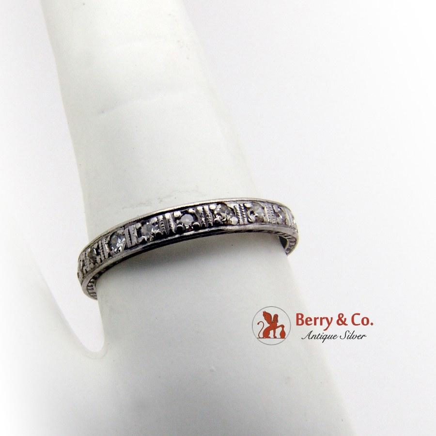 Antique Eternity Ring 14K White Gold Diamonds 1920