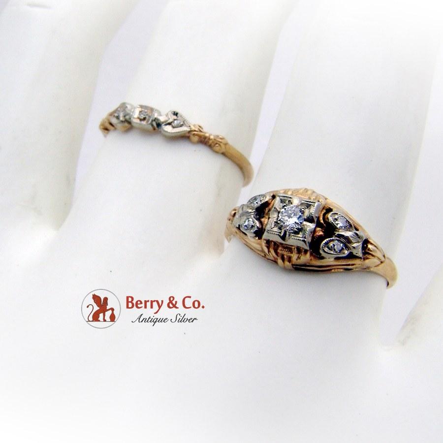 Antique Engagement Wedding Rings Set 14K Gold Diamonds 1910