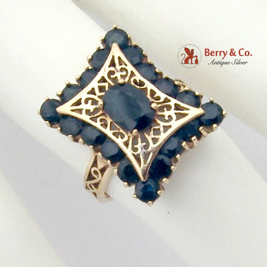 Dazzling Openwork Design Cocktail Ring 10K Yellow Gold Natural Sapphires
