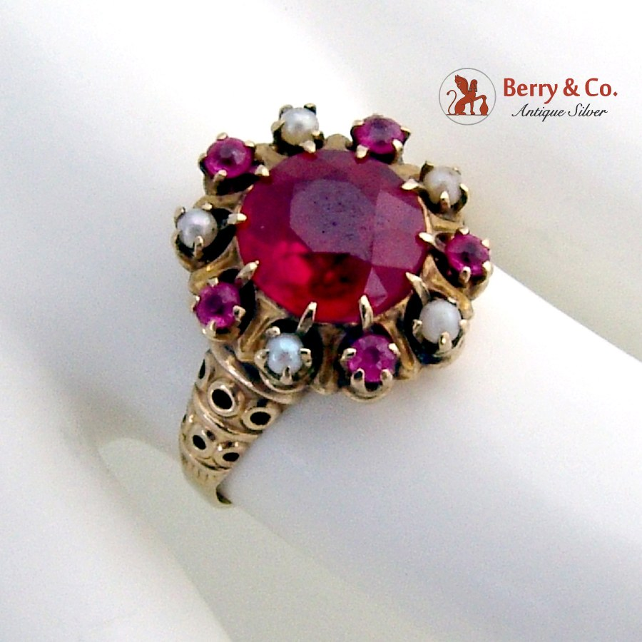 Vintage Retro Cocktail Ring 14K Rose Gold Synthetic Rubies Seed Pearls 1940