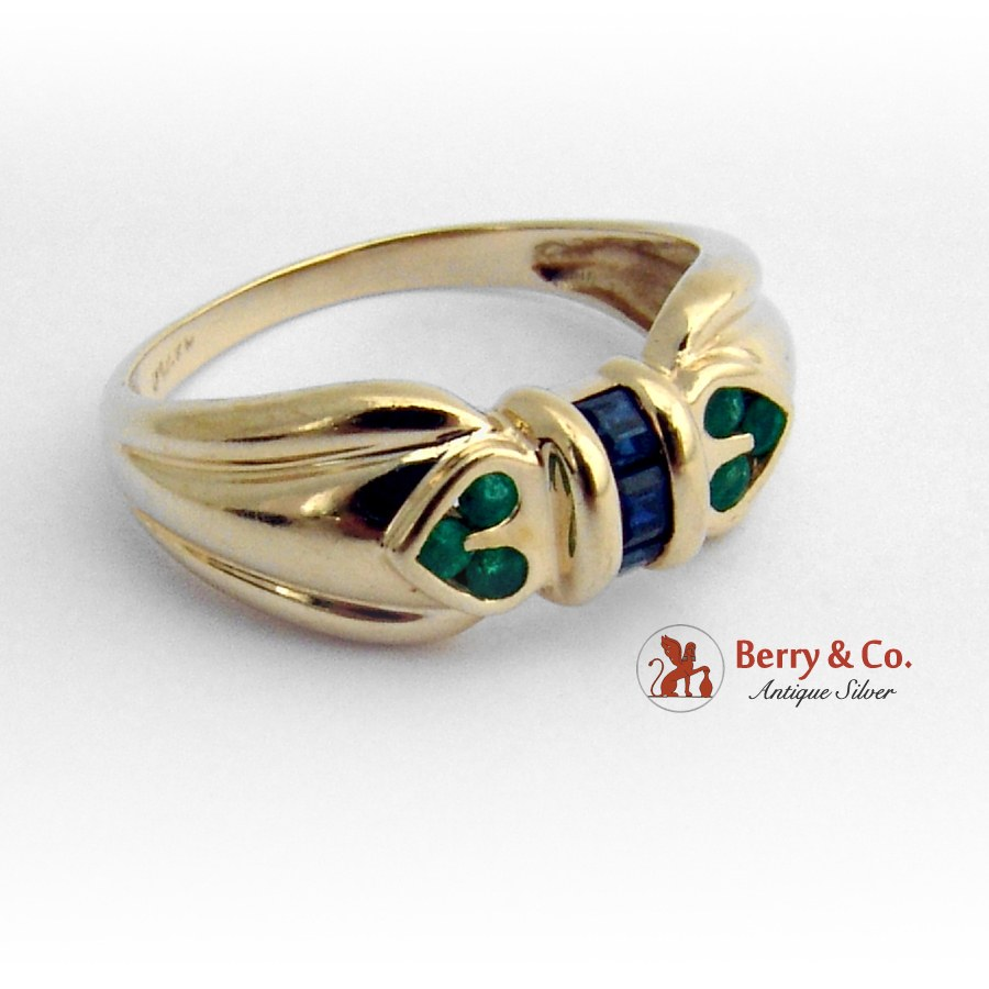 Estate Emerald and Sapphire Ring 14 K Gold