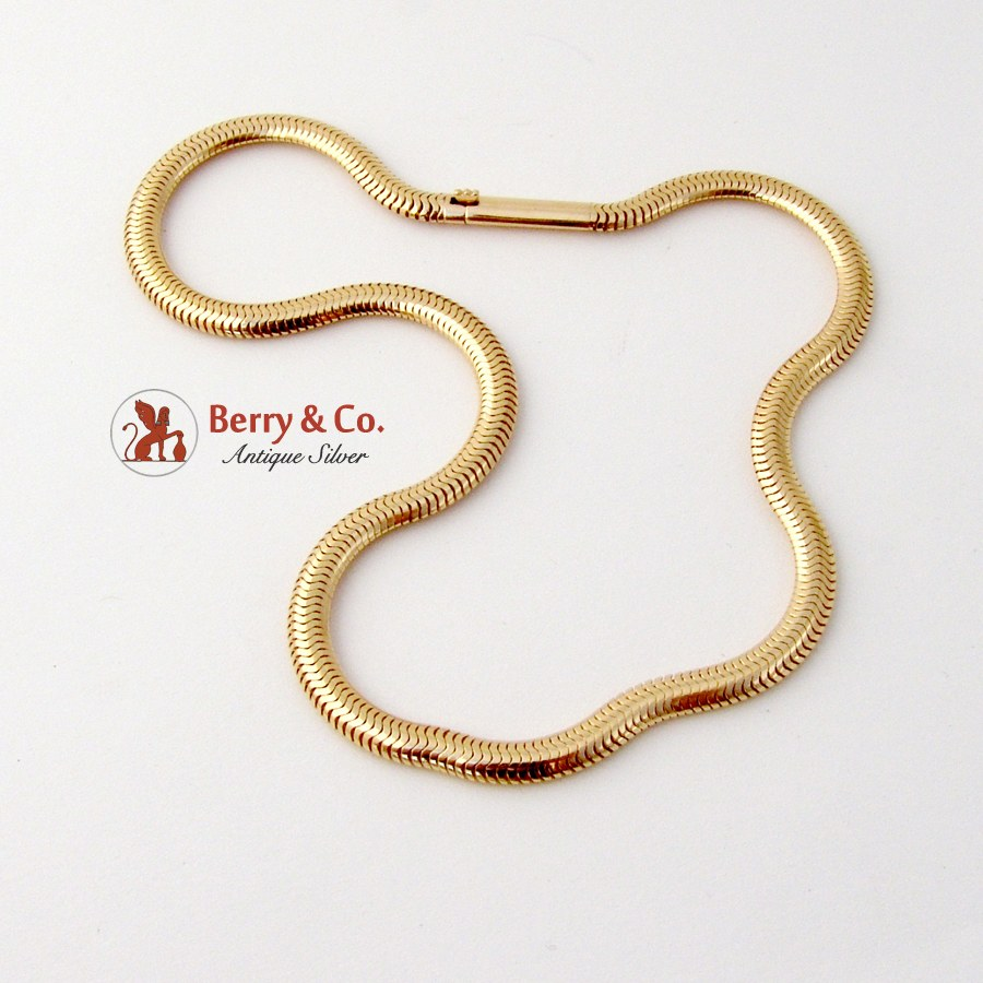 Thick Snake Like Chain Necklace 14k Gold