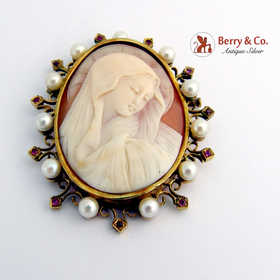 Vintage Hail Mary Cameo Brooch Pendant Pearls Rubies 12 K Gold