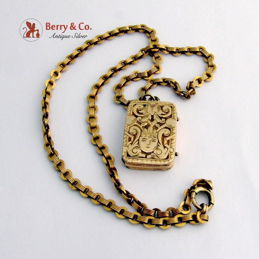 Antique Locket Pendant Necklace14 K Gold, Gold Filled Chain Necklace