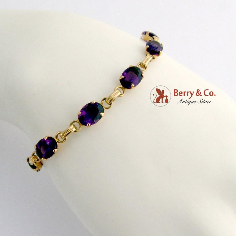 Amethyst Tennis Bracelet 14 K Gold