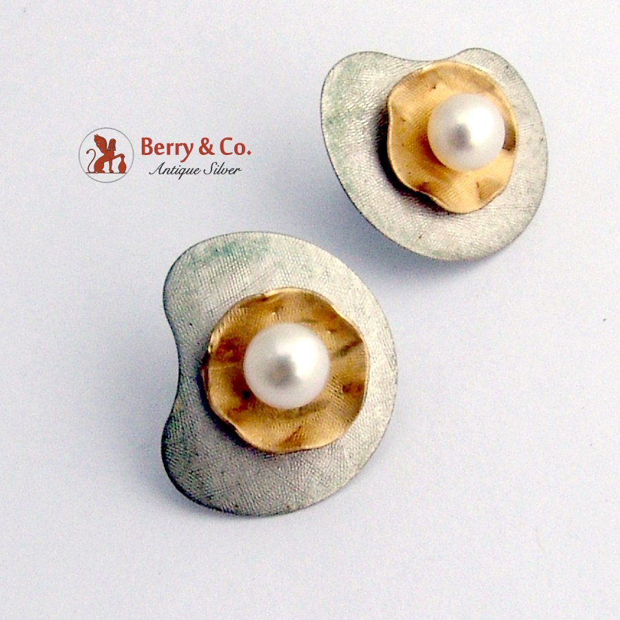 Custom Made Pearl Earrings 14 K Gold Sterling Silver