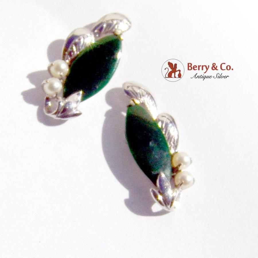 Estate Deep Green Nephrite Jade Earrings 14 K White Gold Pearls