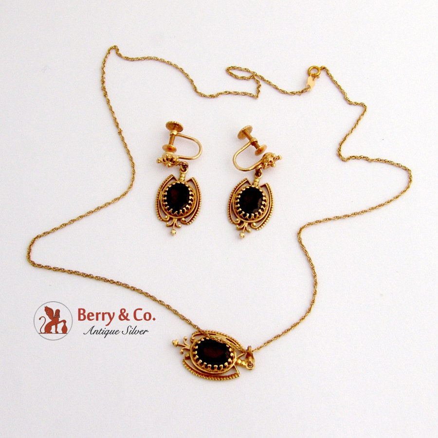 Ornate Earrings and Pendant Necklace Garnets 14 K Gold