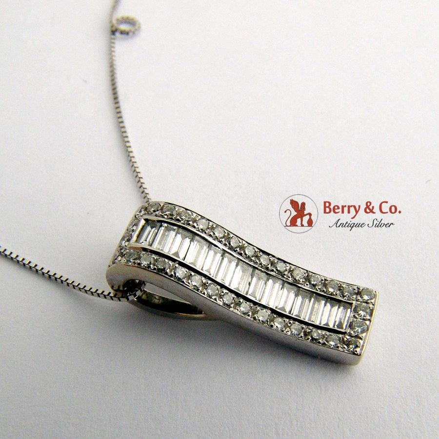 Rectangular Diamond Pendant 14 K White Gold Baguette and Full Cut Diamonds