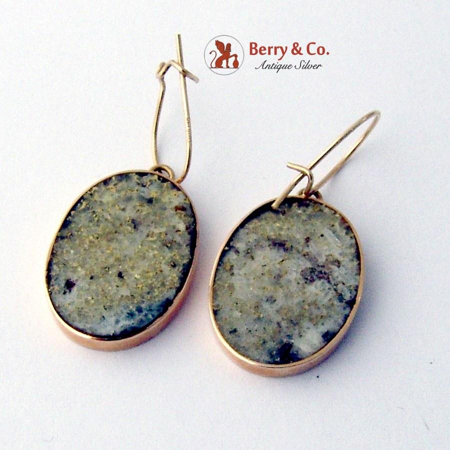 Oval Dangle Gold Quartz Earrings 14 K Gold