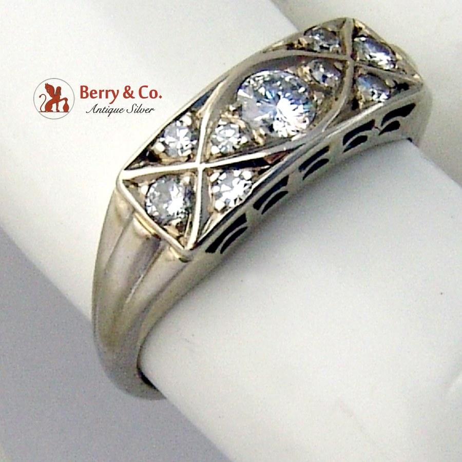 Art Deco Cocktail Ring 14 K White Gold