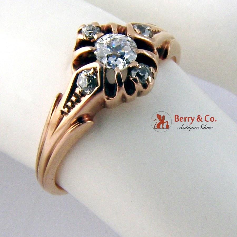 Vintage Rose Gold Ring 14 K Gold Diamonds