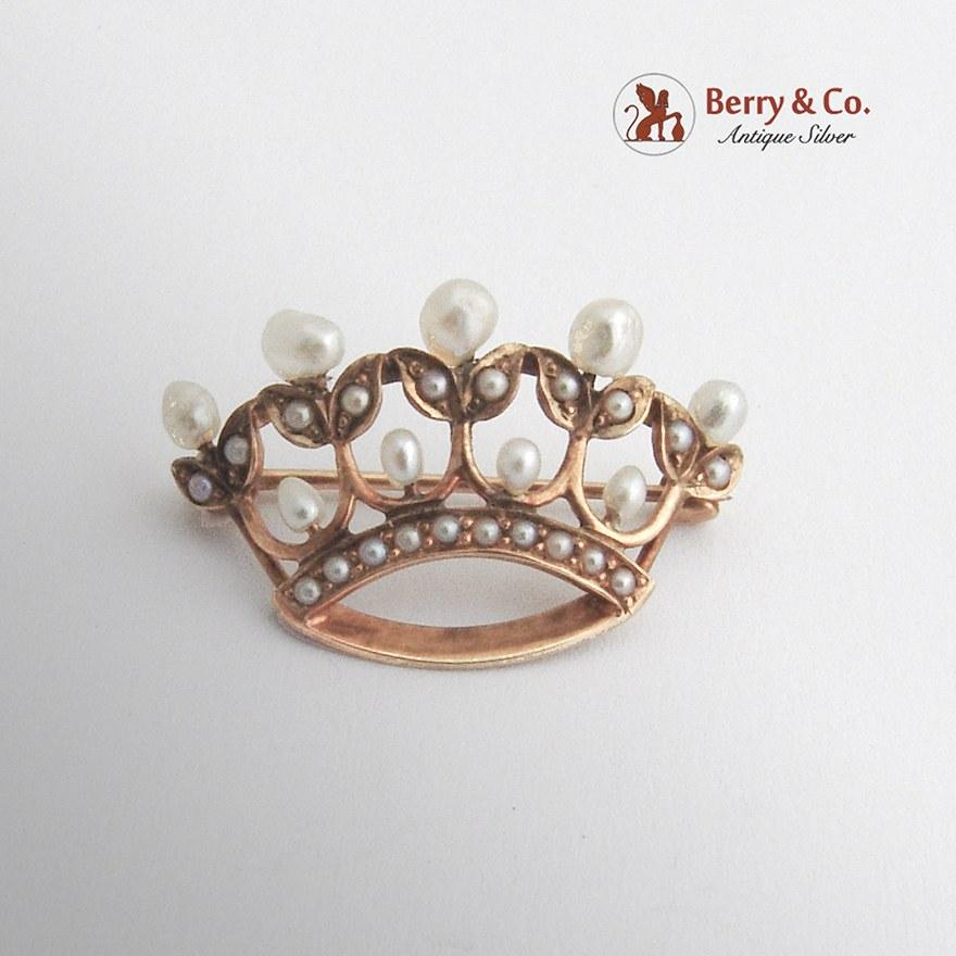 Vintage Crown Brooch 14 K Gold Seed and Baroque Pearls