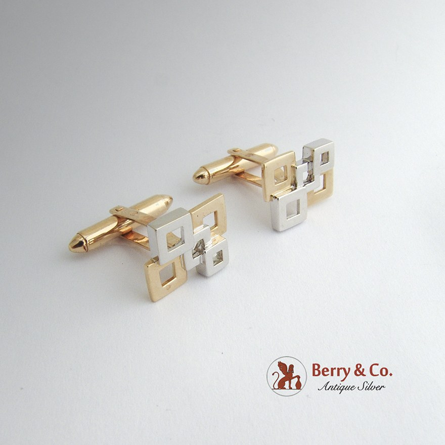 Modernist Square Cufflinks Yellow and White 14 K Gold