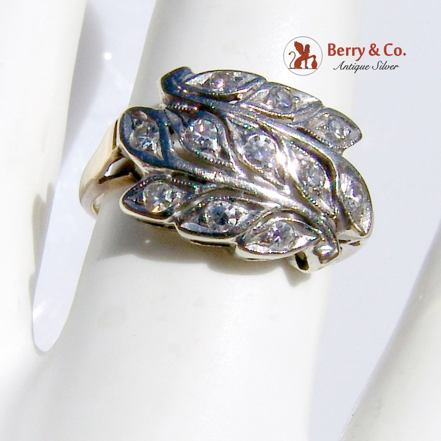 Vintage Floral Ring 11 Single Cut Diamonds 14 K Gold