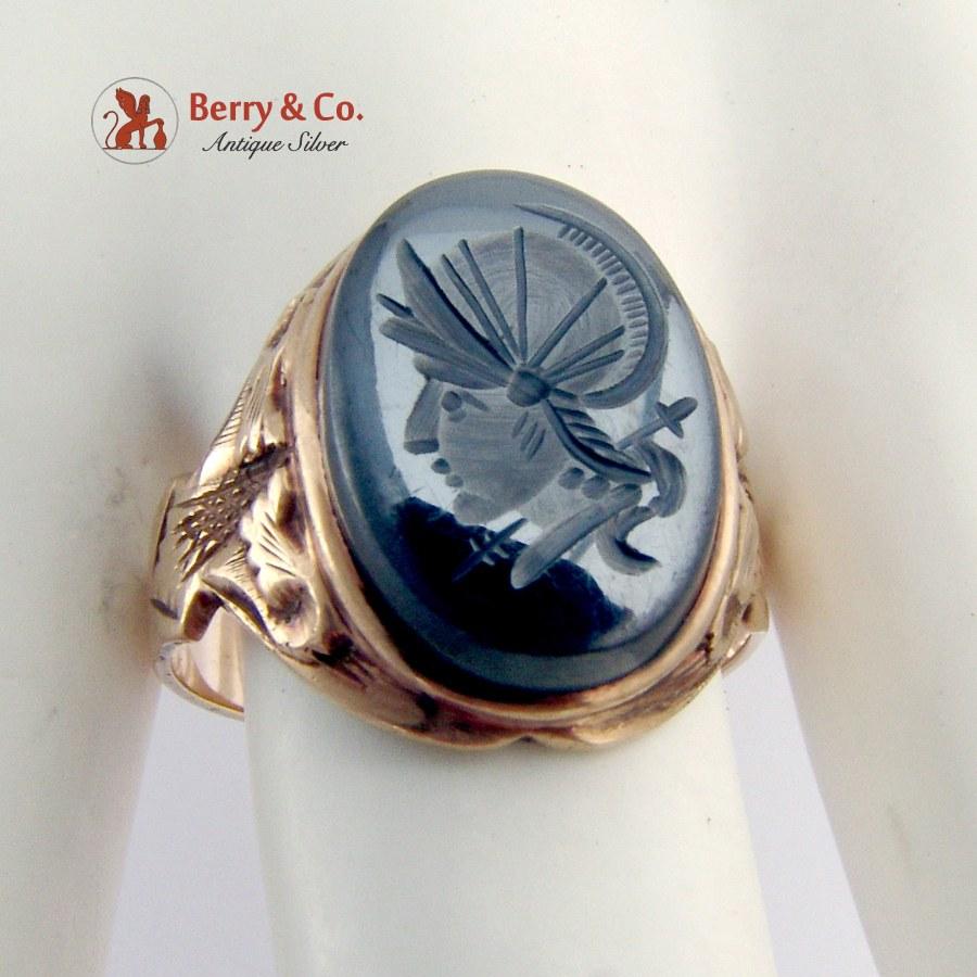 Vintage Intaglio Mens Ring Carved Warrior Hematite 10K Gold