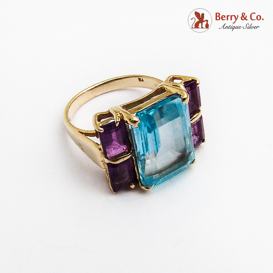 Topaz Amethyst Cocktail Ring 14K Yellow Gold