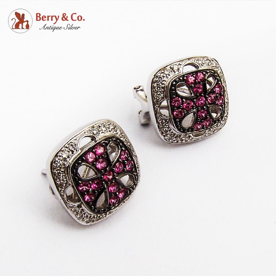 Openwork Square Ruby Diamond Earrings 18K White Gold