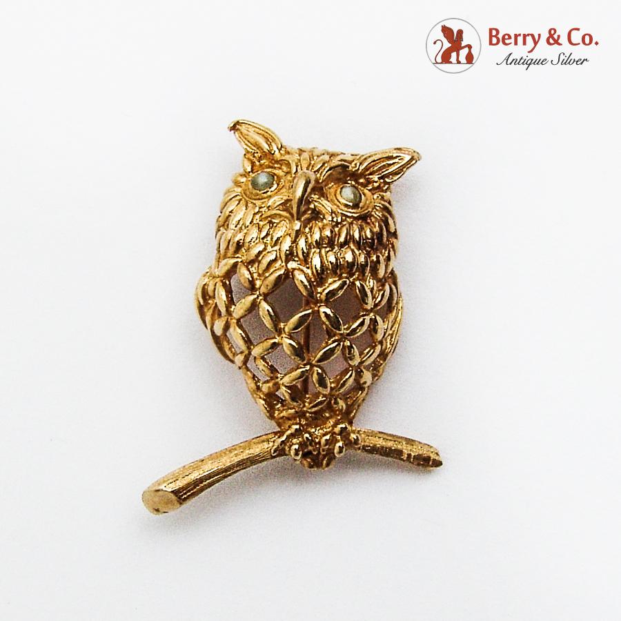 Figural Openwork Wise Owl Brooch 14K Gold Moonstone Eyes