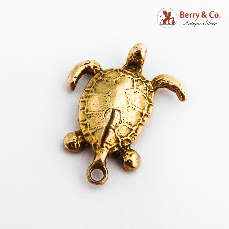 Figural Turtle Pendant 14K Yellow Gold