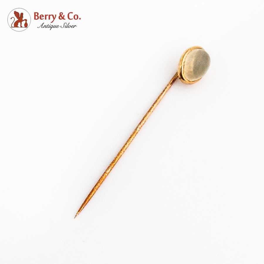 Oval Water Opal Cabochon Stick Pin 12K Gold 1900
