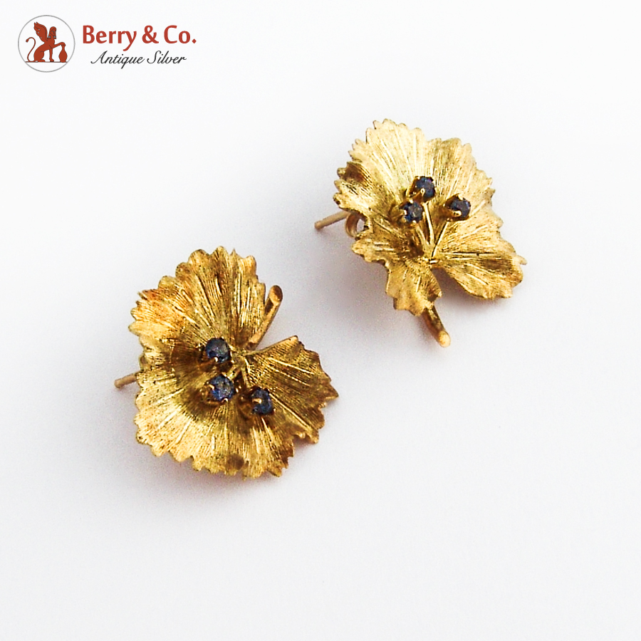 Leaf Form 14K Gold Earrings Sapphire Accents
