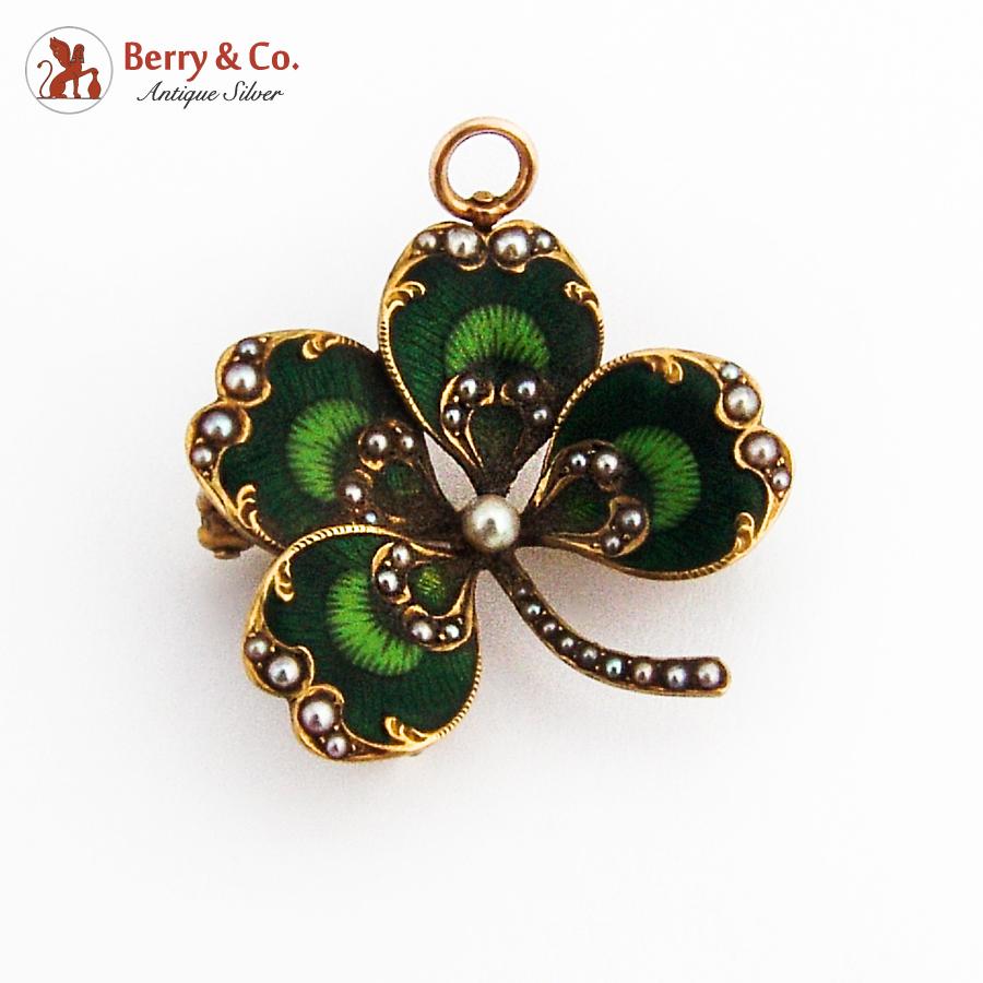 Antique Four Leaf Clover Brooch Pendant Enamel 14K Gold Seed Pearls