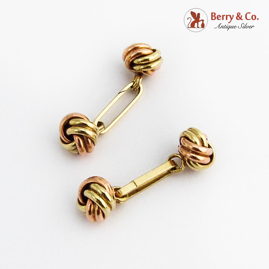 Retro 14K Two Tone Gold Knot Form Cufflinks