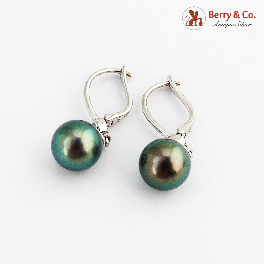 Dangle Tahitian Pearl Earrings 14K White Gold White Gem Accents