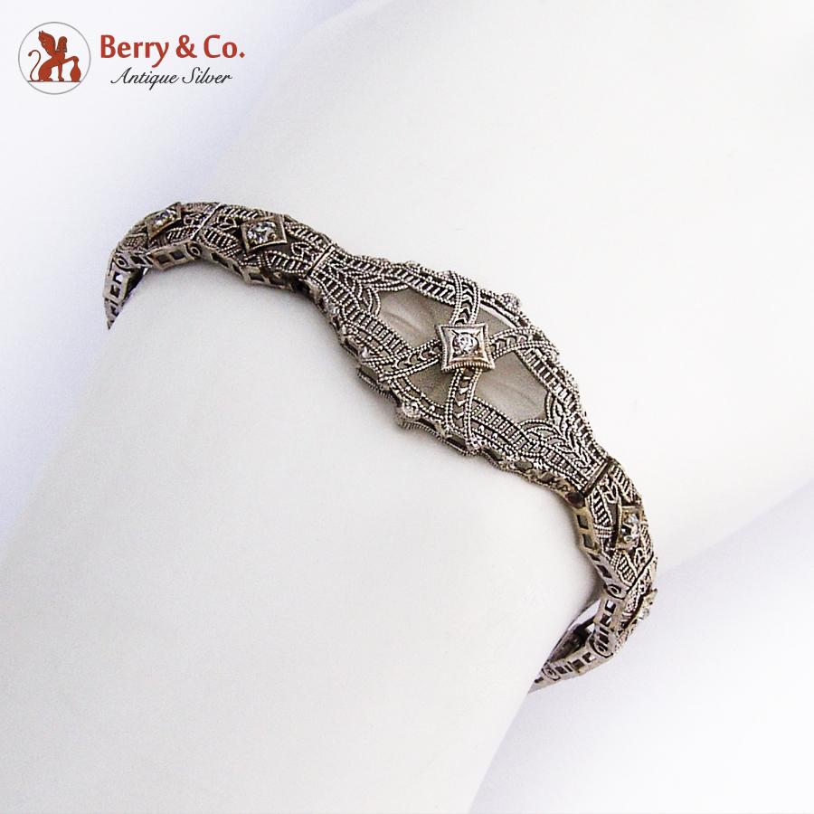 Edwardian 14K White Gold Bracelet Rock Crystal Diamonds
