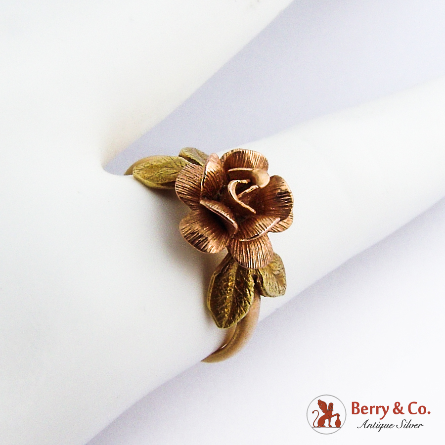 Figural Flower Ring 14K Rose Yellow Gold
