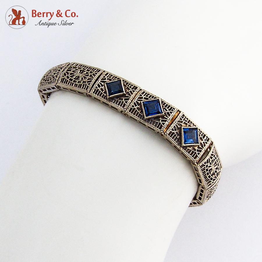 Art Deco Openwork 14K White Gold Bracelet Sapphires