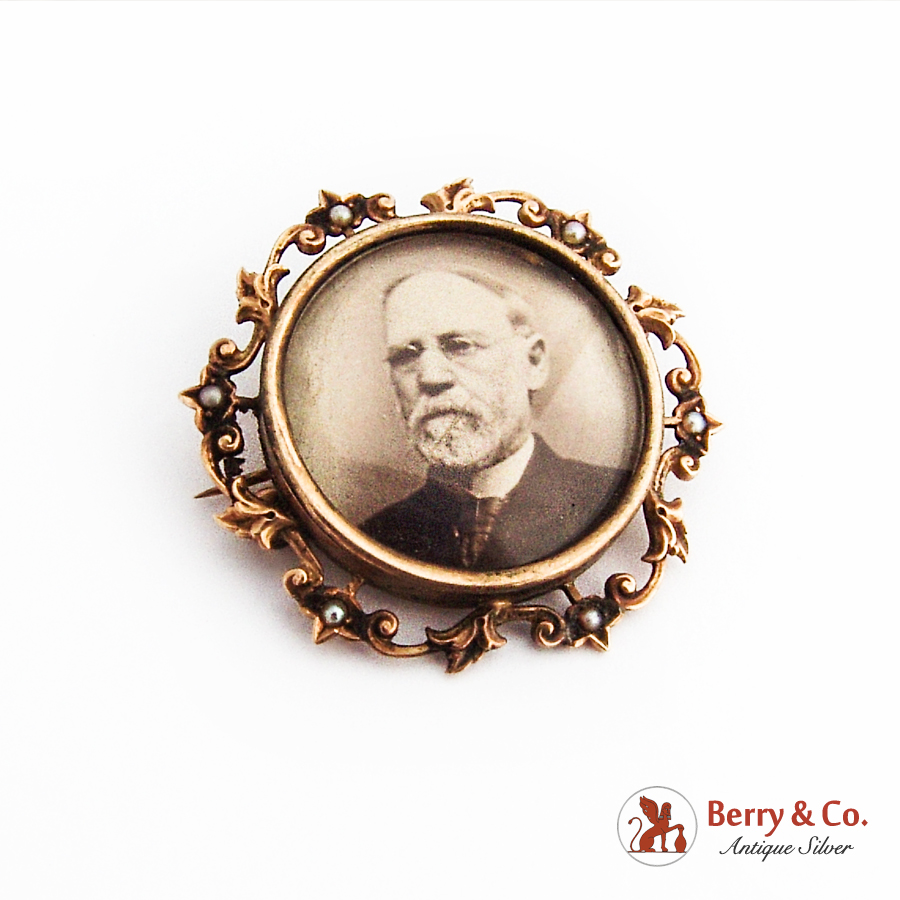 Ornate Sigmund Freud Portrait Brooch 10K Gold Seed Pearls