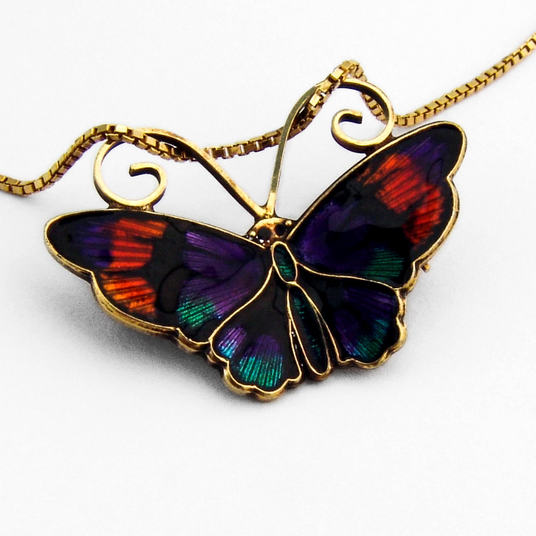 SPRING SALE David Andersen Sterling Yellow Green and  Black Enamel Butterfly Brooch Pin