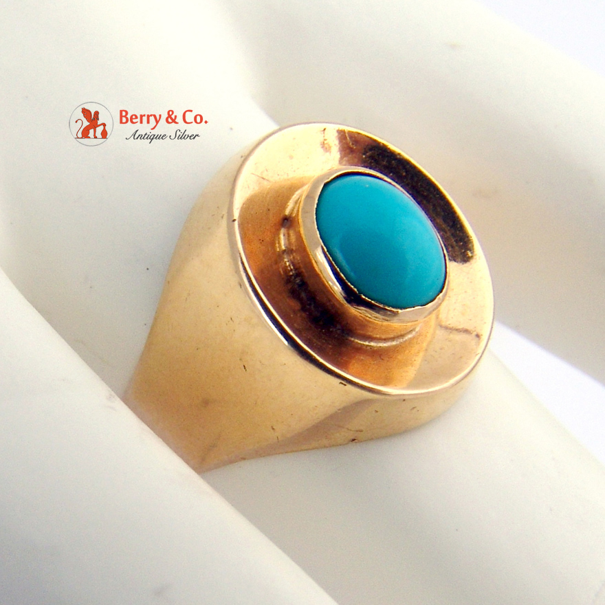 Vintage Persian Turquoise Oval Ring 18 K Yellow Gold