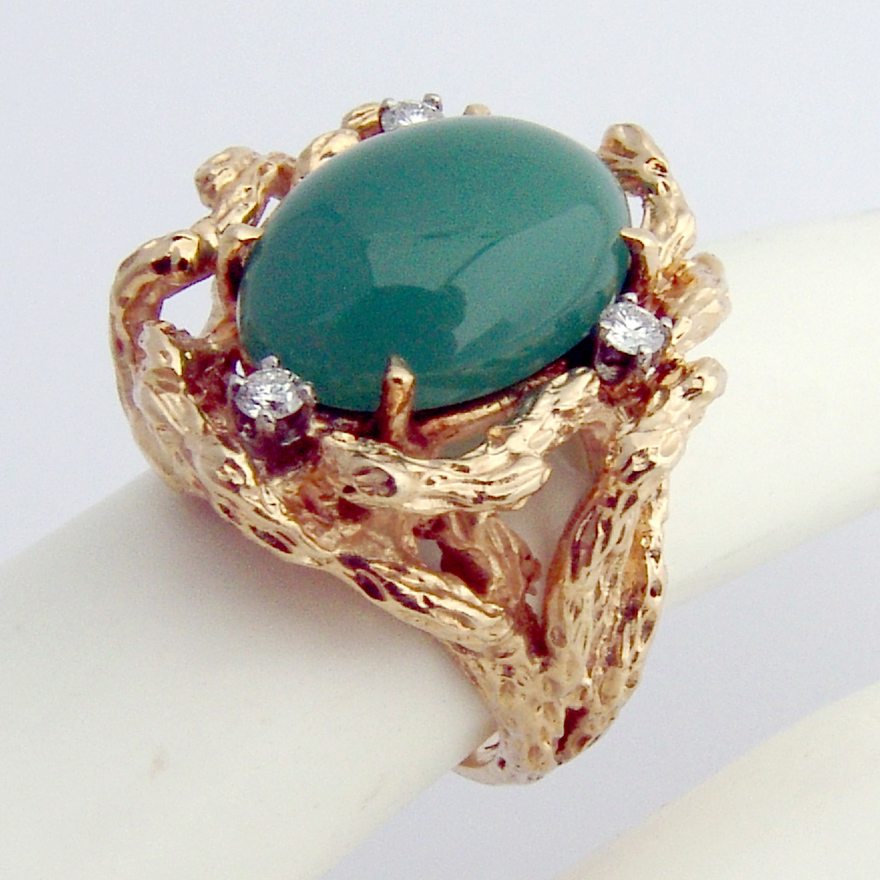 Large Dazzling Ring Coral Branch Design 14 K Gold Green Chalcedony Diamonds