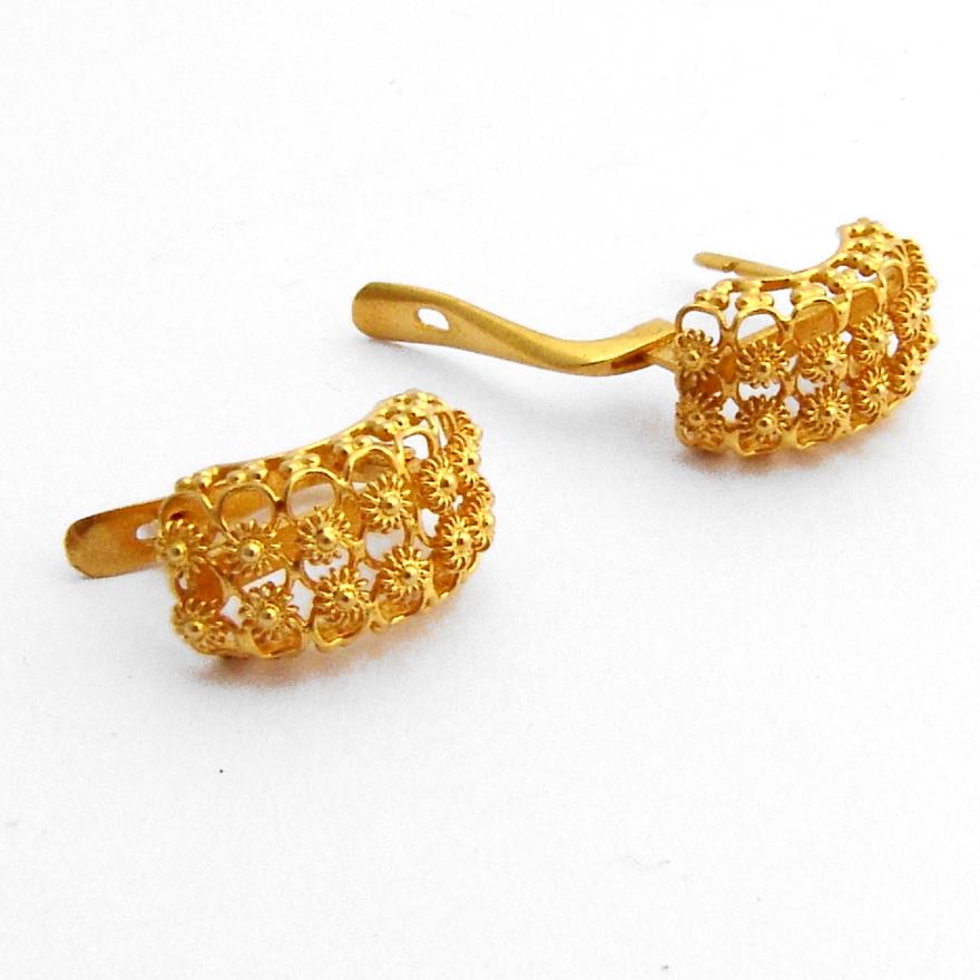 Ornate Filigree Earrings 18 K Yellow Gold