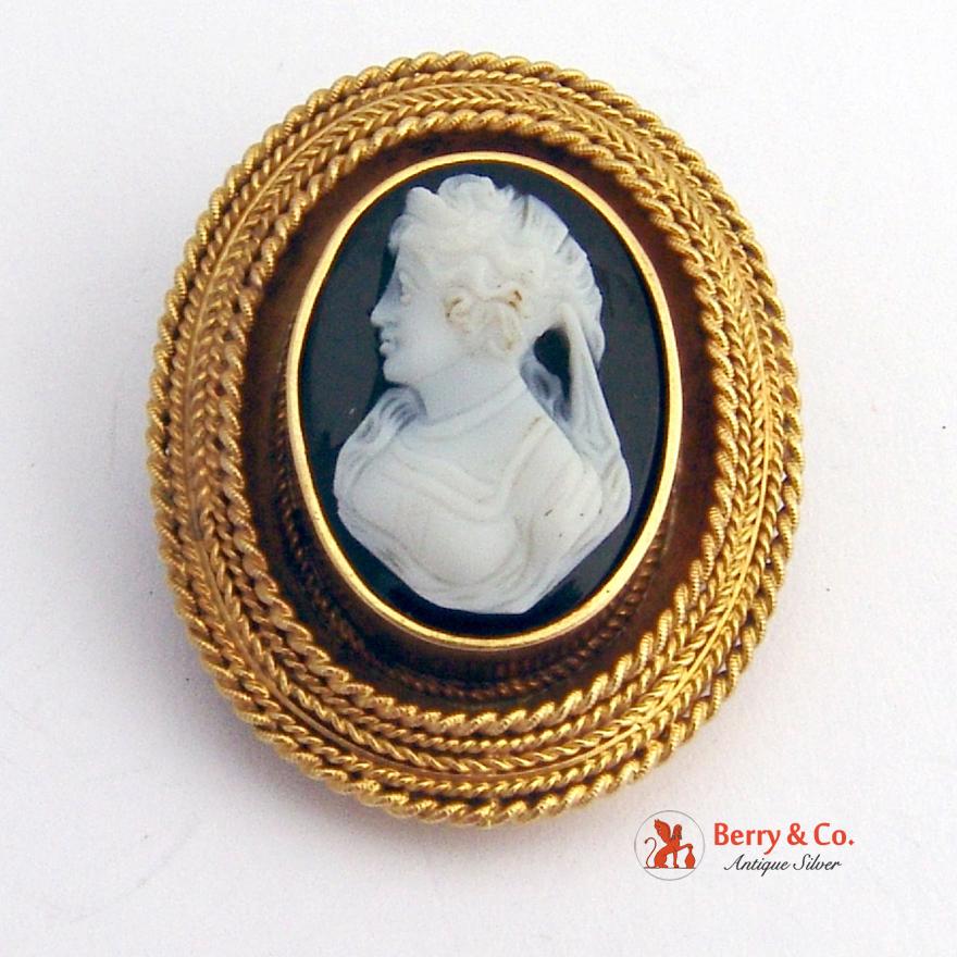 Antique Victorian Cameo Brooch Pendant 14 K Gold Sardonyx Hair Locket