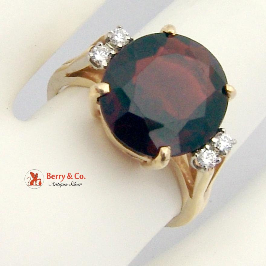 Burgundy Garnet Ring Diamonds 14 K Yellow Gold