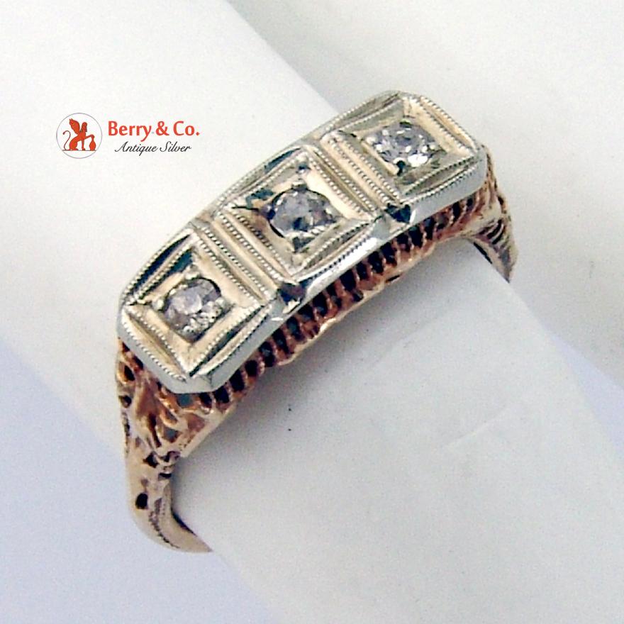 Art Deco 3 Diamond Rose Gold Ring