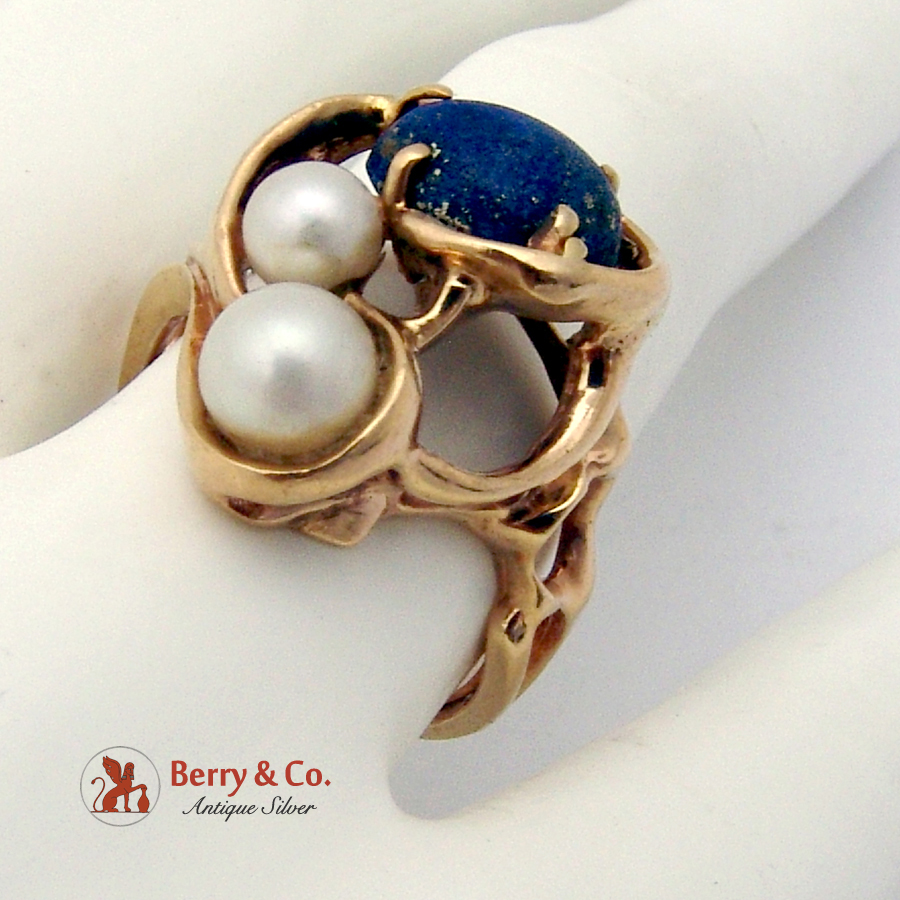 Abstract Lapis Pearl Ring 14 K Gold
