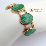 Vintage Asian Floral Carved Jade Bracelet 14 K Gold