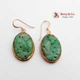Vintage Asian Floral Carved Jade Dangle Earrings 14 K Gold