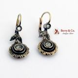 Antique Dangle Earrings 12 K Gold Silver White Sapphire