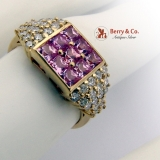 Estate Ring Pink Sapphire Diamonds 18 K Gold