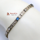 Vintage Art Deco Chain Bracelet Sapphire 14 K Yellow and White Gold