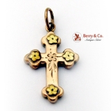 Antique Small Cross Pendant 10 K Rose and Green Gold