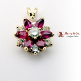 Vintage Small Flower Pendant Rubies Diamonds 14 K Gold
