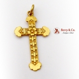 Vintage Chinese Cross Pendant 18 K Gold